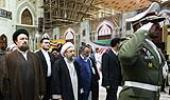 Iranian Judiciary Chief Ayatollah Sadeq Amoli Larijani with Ayatollah Hassan Khomeini at Imam Khomeini's holy shrine